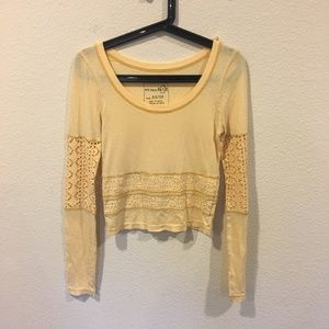 Free People yellow long sleeve crop top